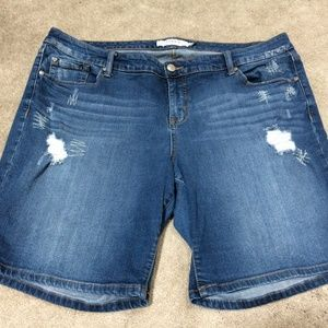 Torrid Distressed Denim Bermuda Shorts